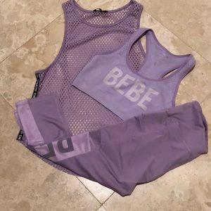 Fabulous BeBe Lavender 3 piece workout set!